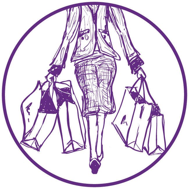 Purple clip art of women holding shopping bags