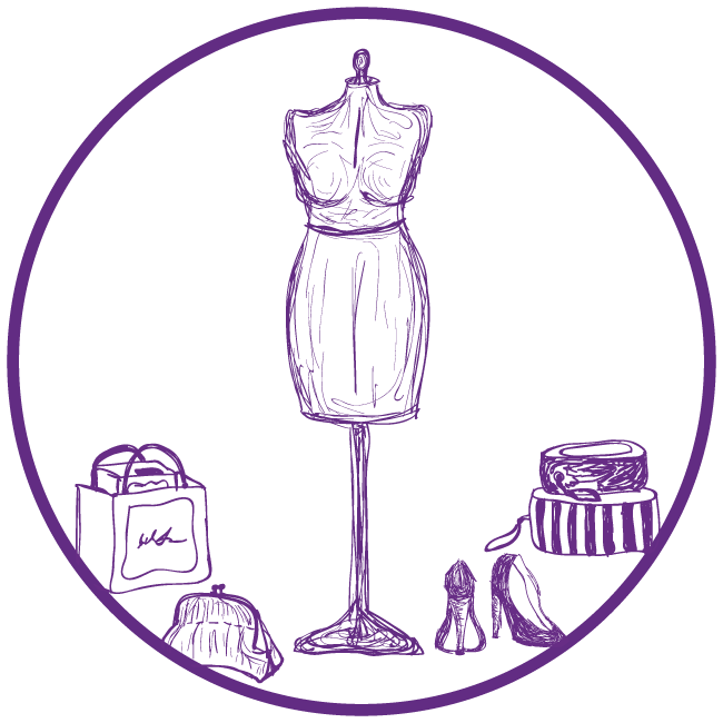 Purple clip art of tailor items