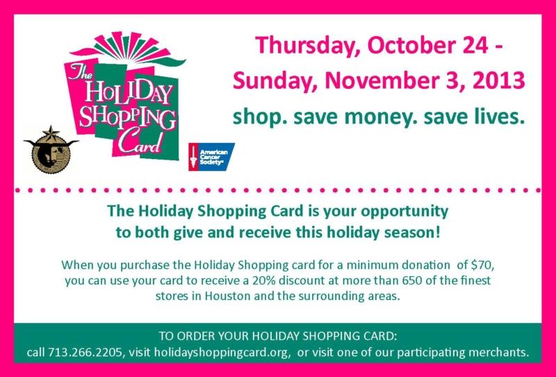 Holiday shopping card