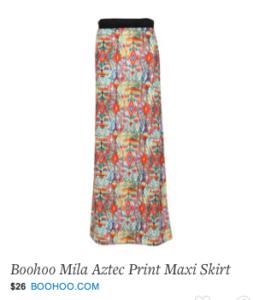 Boohoo Mila Aztec Print Maxi Skirt