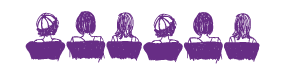 Purple clip art of ladies sitting in chairs