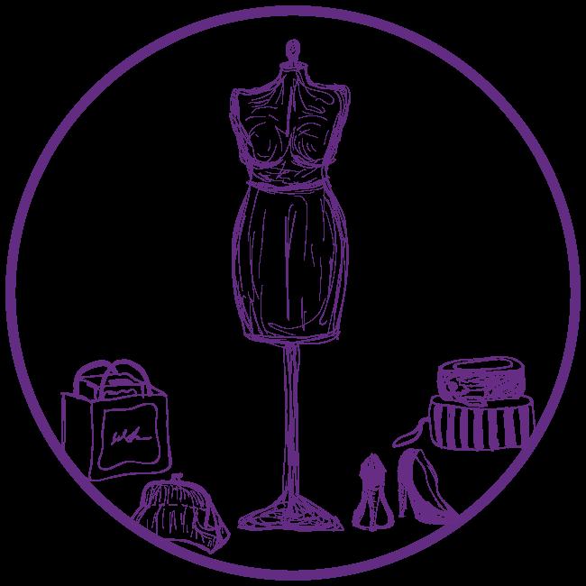 Purple clip art of tailor items
