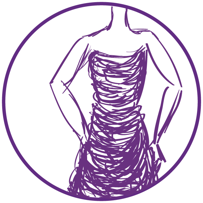 Purple clip art of woman in dress