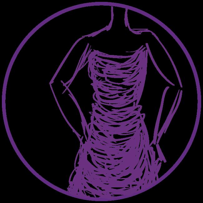 Purple clip art of woman in dress